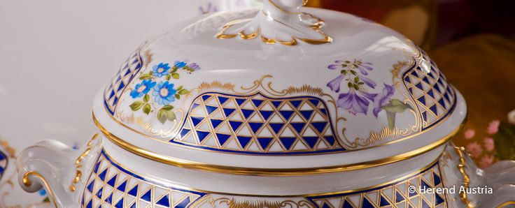 Soup Tureen - Mosaic and Flowers Decor - Herend Porcelain Dinner Set