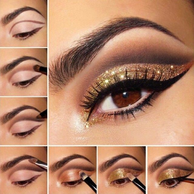 Cut crease golden glitter makeup #tutotial #maquiagem #evatornadoblog Макияж с золотыми блестками - урок