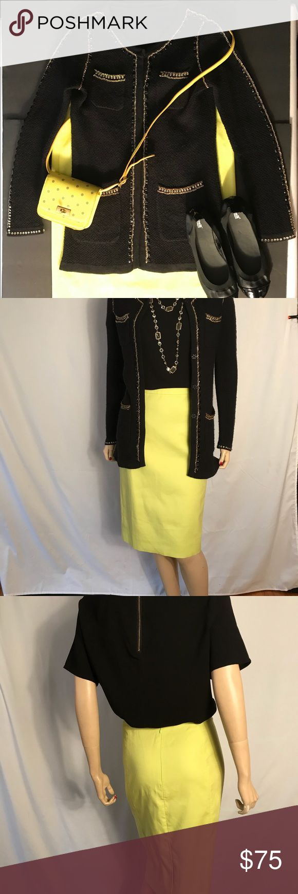 "J Crew Neon Green Pencil Skirt This is a versatile J.Crew Black Label Pencil Skirt which will add that eye-catching  pop of color to your wardrobe. It works well with Gold as seen in the first pic.   Size 10  Waist:34"" Hip:40"" Length:24 1/2""  Condition is New Without Tag. J. Crew Skirts"