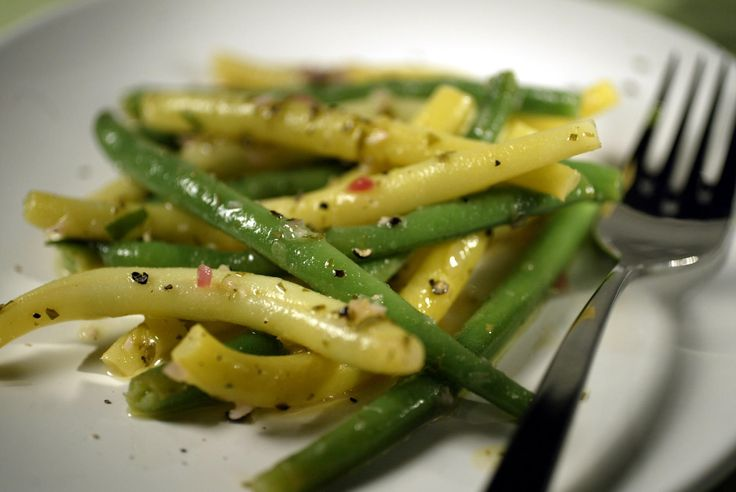 Green and yellow beans in lemon mustard vinaigrette