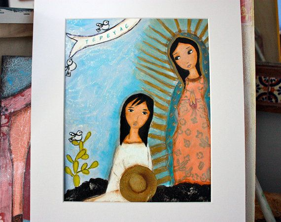 Our Lady of Guadalupe with Juan Diego -  Original  Painting on Paper Folk art by FLOR LARIOS ( 8 x 10 Inches))