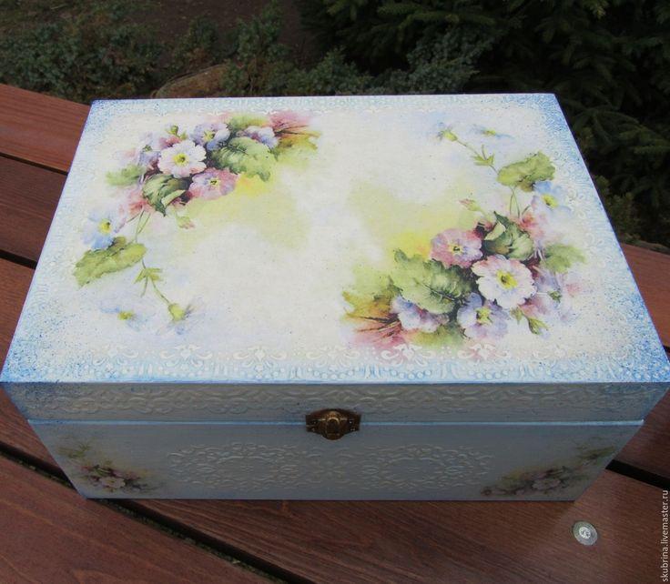 """Купить Канцелярский набор шкатулки А4 """"Нежные цветы"""" декупаж - голубой, для бумаг, на письменный стол"""