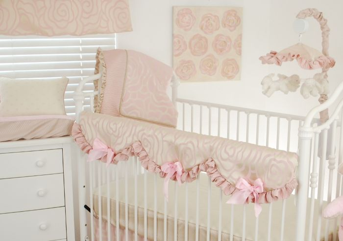 Shabby chic baby nursery idea with blush floral satin crib for Chic baby nursery ideas
