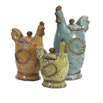 New Cherda Ceramic Rooster Canister Set, Farmhouse kitchen decor 50353-3 #Imax