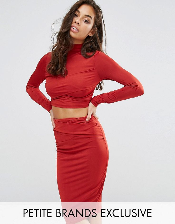 Buy it now. Naanaa Petite Long Sleeve Panelled Crop Top - Red. Petite top by NaaNaa, Stretch jersey, High neckline, Panelled design, Cropped cut, Regular fit - true to size, Machine wash, 95% Polyester, 5% Elastane, Our model wears a UK 8/EU 36/US 4, Exclusive to ASOS. ABOUT NAANAA PETITE With a flair for party pieces, NaaNaa puts its statement stamp on bodycon silhouettes, tailored jumpsuits and figure-flattering midi dresses. Strappy styling and peekaboo cut-outs add the finishing touches…