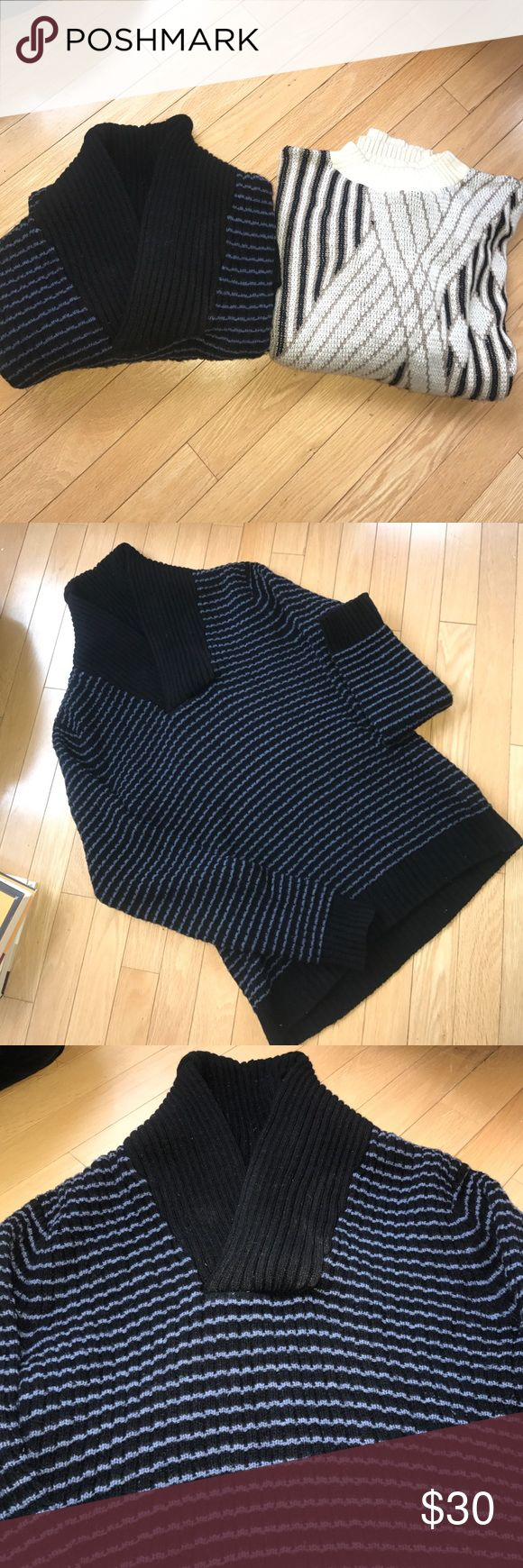 Men's  Pre - loved Sweater Bundle ( 2 sweaters ) Men's  Pre - loved Sweater Bundle ( 2 sweaters )  1  Cowl collared H&M Blue and black sweater ( 80% Lambs Wool 20% Polyamide)  size Small . 1  Authentic Vintage Sweater  by Jaguar (100% Acrylic ) size Large ( Can fit a men's medium- looks to run small ) Both of these are pre loved with significant wear and tear including pillage  ( thus the price ) - I can post additional pics if requested . No Major damage found in either - both are wearable…