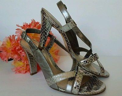 ANTONIO MELANI Silver Animal Print Sling Back Shiny Open Toe Heels 7 1/2 M  auc