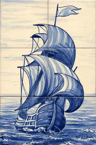 #azulejos #bateau réf: cerb_277_7_1 #mer #carrelage #tile #boat #sea #decoration #bleu #blue