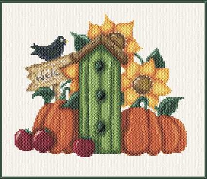 Autumn Birdhouse cross stitch pattern.