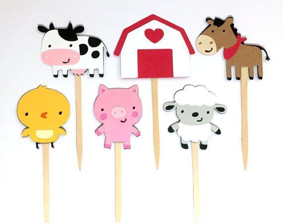 Conjunto de 12 Toppers Cupcake animales de granja / por aaahpaper