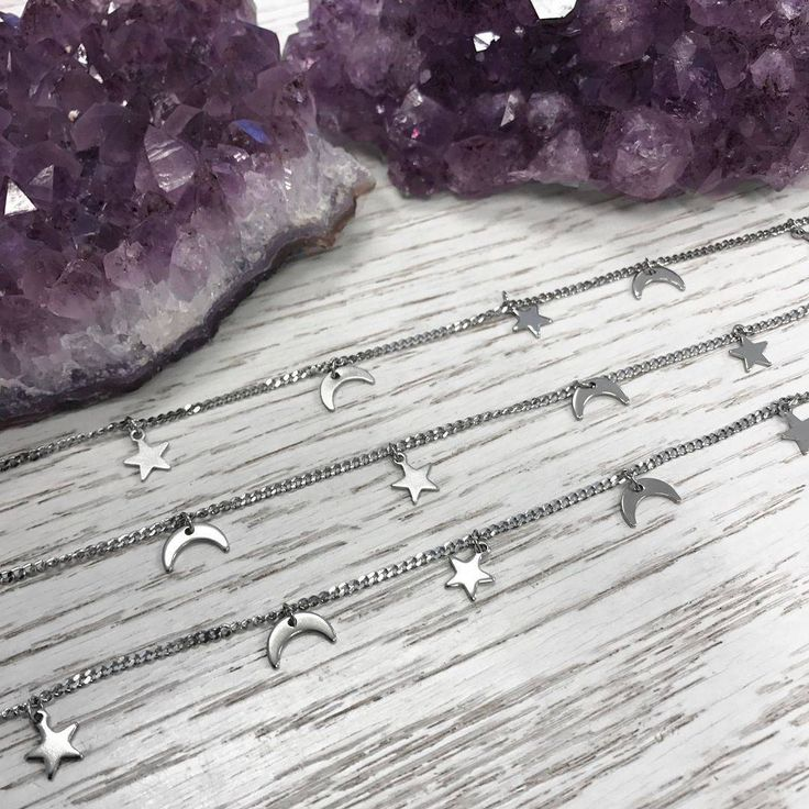 Allergic? We got new super cute chokers in Stainless Steel ✨   #choker #chokers #moon #moonandstars #moonchoker #celestial #crescent #crescentmoon #stainlessteel #nonallergic #amethyst #crystals