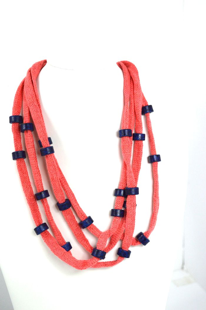Short Necklaces : Coral NecklaceCoral cotton cord embellished with blue handmade ceramic beads and wire. Detail: the metal clasp. Total length approx. 55 cm.
