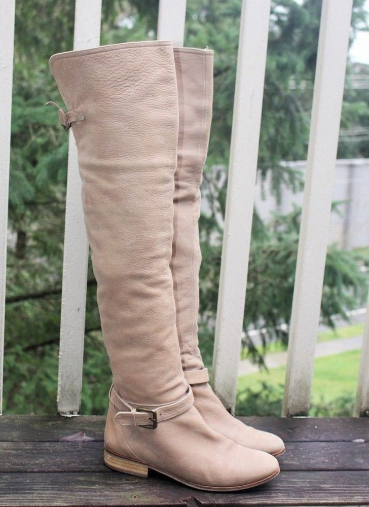 5526d386e3c ZARA OTK BOOTS 7 Beige Genuine Leather Suede Flat Over The Knee Boot  Harness  Zara  OverKneeBoots  Any