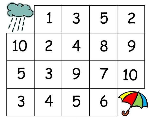 Bludiště pro deštivé dny. Stačí jít číselnou řadou od jedničky...   Zdroj:http://www.funnycrafts.us/rain-themed-worksheets/rain-numbe...