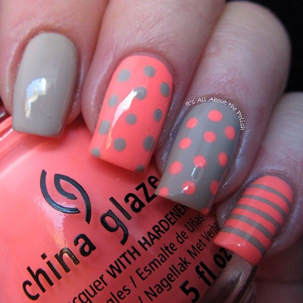 Pink coral and gray nails