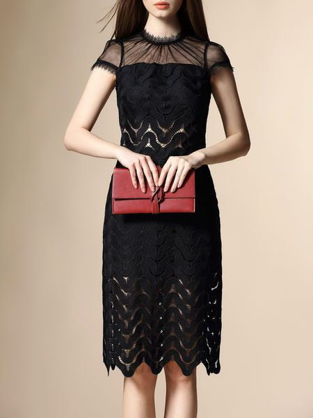 Mesh Paneled Lace Midi Dress