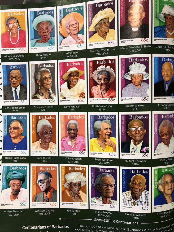 The Barbados Postal Service put citizens who reached 100 years on on its stamp issue, 'Centenarians of Barbados'