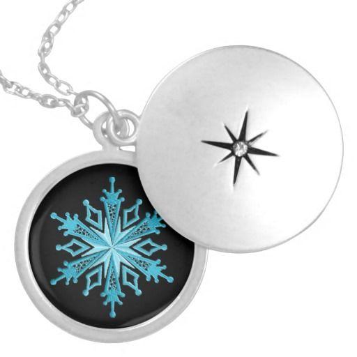 Ice Blue Snowflake Locket
