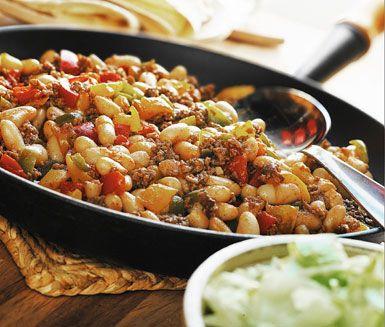 Recept: Texmex-fräs med bönor och paprika
