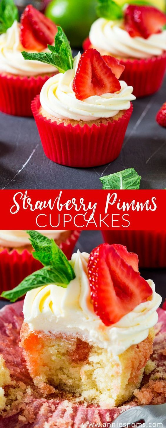 These Strawberry Pimms cupcakes are Wimbledon in cupcake form! Lemon and lime cupcakes with a pimms syrup and frosting. Sweet, light and so refreshing! #ad #wimbledon2017