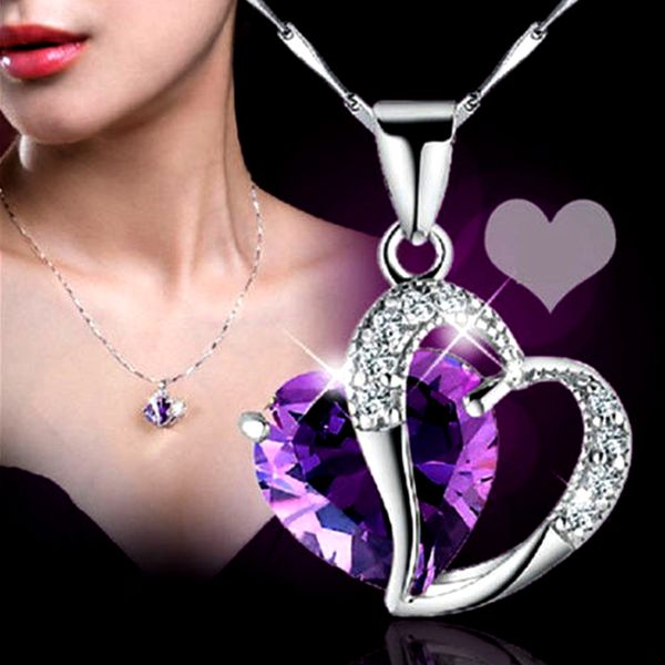 Crystal Purple Heart Necklace