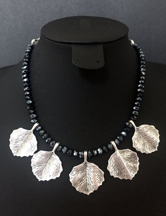 Silver leaves grey crystal beaded necklace by CallmeHappySpirit
