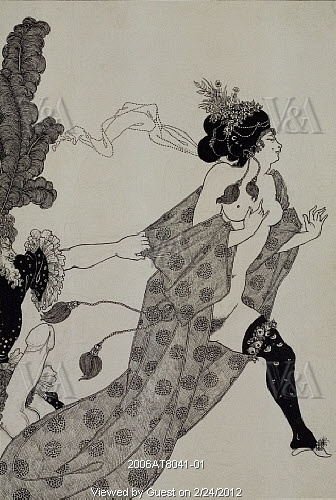At the V and A in London. Cinesias Entreating Myrrhine to Coition, by Aubrey Beardsley (1872-98). Lithograph. London, England, 1896.