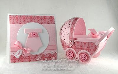 Cute onesie card and baby carriage