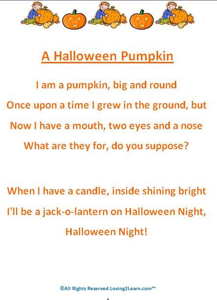 jack o lantern poem for kids | Halloween Poems - Printable Halloween Poems for Kids