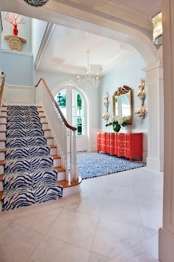 I went with stripes...maybe should have done this!  Custom wool zebra for client's foyer and staircase.  Seldom Scene Interiors, Private residence - Palm Beach, FL
