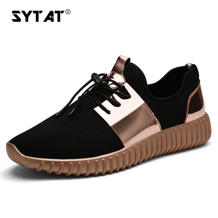 SYTAT Glossy Gold Men Air mesh Breathable shoes Couple Durable Waliking Leisure Sneakers Lace-Up shoes men casual shoes