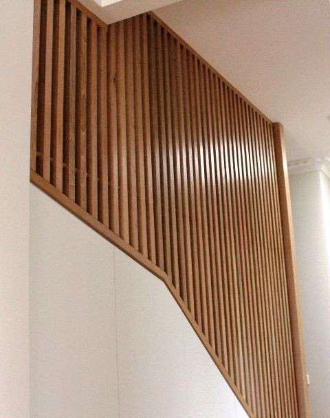 timber detail on staircase.