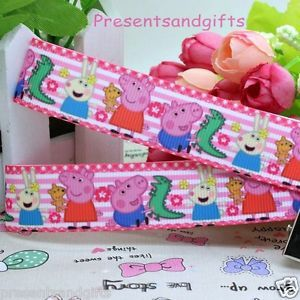 ✿ 1m PEPPA PIG GEORGE PINK STRIPE HAIR BAND BOW CAKE 7/8 22 GROSGRAIN RIBBON ✿