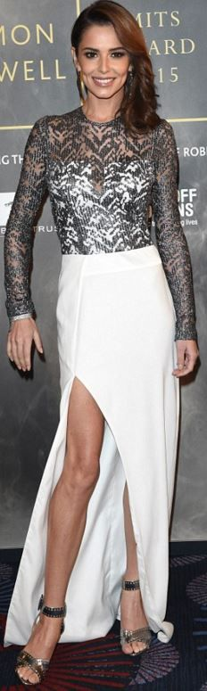 Who made Cheryl Cole's silver long sleeve top, sandals, jewelry, and white maxi skirt?
