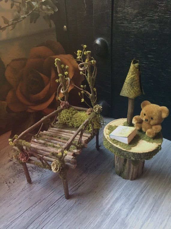 Faery Nursery Set Miniature Nursery Baby Crib Fairy Furniture Handmade By Thefaeryforest Fairy Furniture Fairy Garden Designs Fairy Garden Furniture
