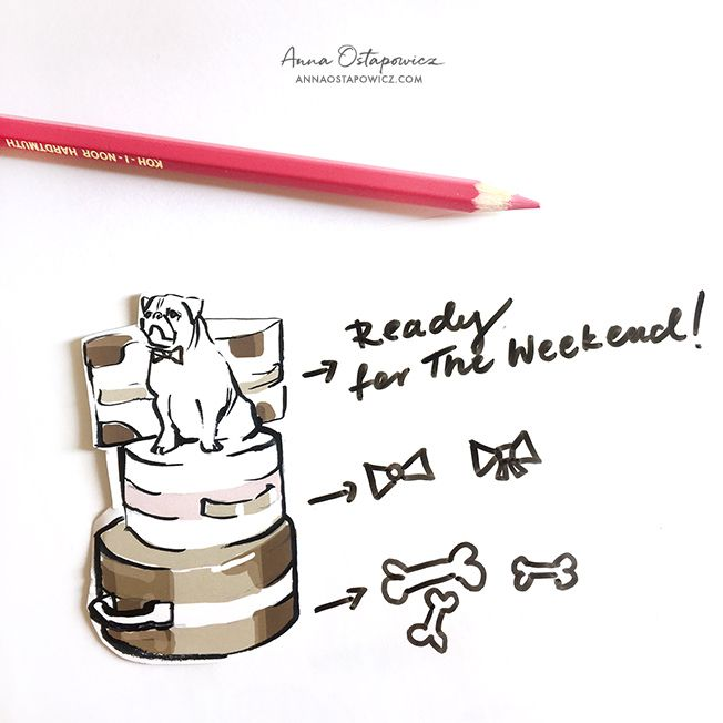 Ready for the week-end, Illustration Anna Ostapowicz #bulldog, #frenchbulldog #weekend #illustration