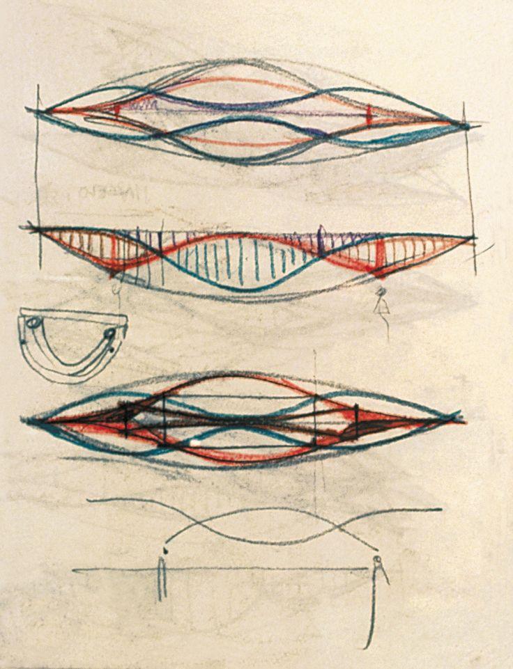 Tokyo International Forum | Rafael Viñoly Architects | Sketch of Glass Hall truss by Rafael Viñoly
