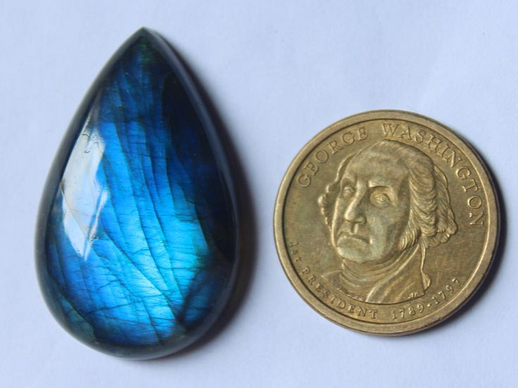 1Pcs 64Cts. 40X25mm Pear Shape Shape 100%  Natural Blue Fire Flash Labradorite,Smooth Hand cut polish Jewelry Making Handmade Gemstone by zakariyagems on Etsy