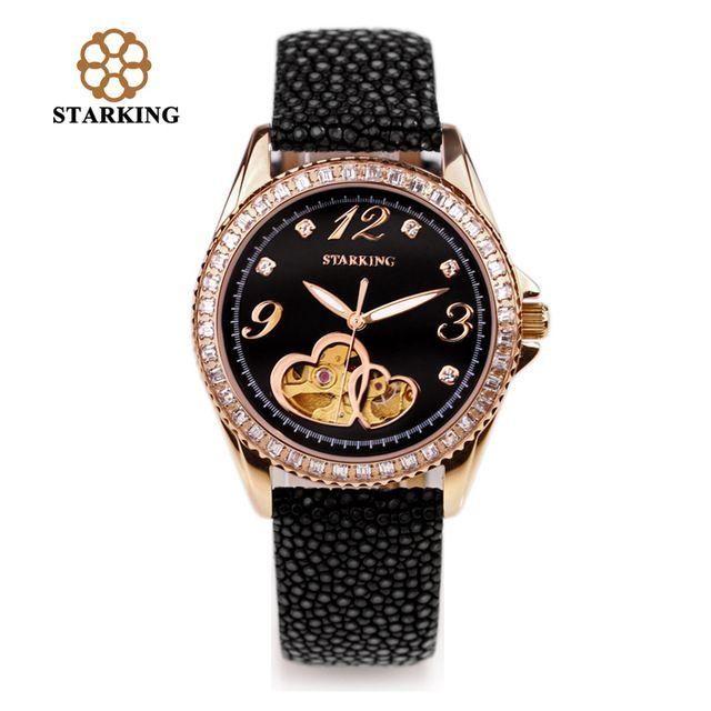 STARKING Ladies Automatic Luxury Watches Fish Leather Mechanical Hollow Diamond Gold Watches Women Bracelet Watch AL0128 ofertas