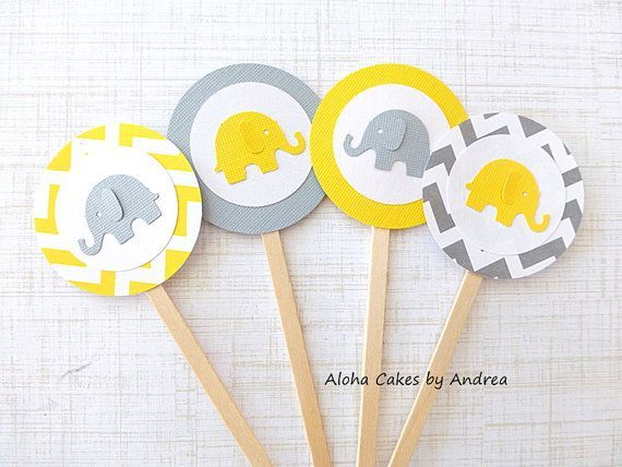 Cupcake Toppers, Yellow And Gray Elephant Baby Shower, Birthday Party,  Gender Neutral Baby