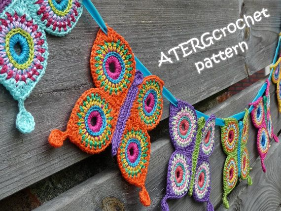 beautiful crochet butterfly garland...I want this!  Crochet pattern butterfly garland by ATERGcrochet. €2.75, via Etsy.