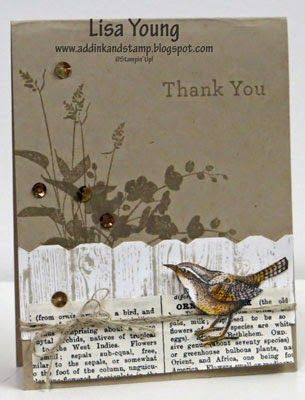 Lisa Young: Add Ink and Stamp – A Little Birdie says Thank You - 2/11/15  (SU stamps: World of Dreams (background), Hardwood + (Hexagon punch for fence), An Open Heart.)  (Pin#1: Thank You.  Pin+: Woodgrain; Birds & Nests.)