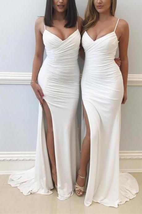 b63b719fc42 P38 Spaghetti Straps V Neck Long Slit Mermaid Prom Dresses