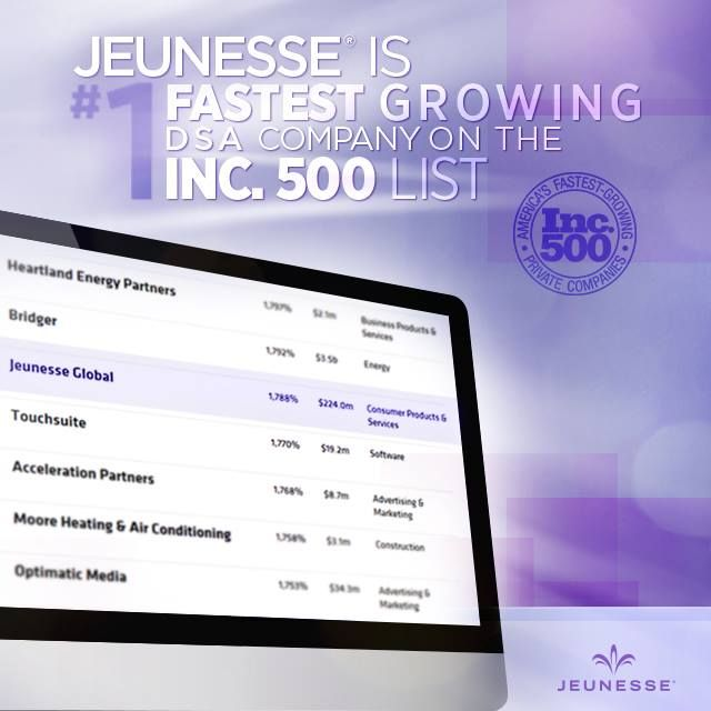 "LetsGoDiamond.com ---> http://www.prnewswire.com/news-releases/jeunesse-is-no-1-fastest-growing-dsa-company-on-the-inc-500-274006041.html ""It's quite an honor for Jeunesse to be acknowledged as one of the fastest growing companies in America, . . . I'm proud to say that a lot of the credit goes to our family of distributors and staff who work so hard and who are all responsible for the growth of this company."" Co-Founder, Wendy Lewis."