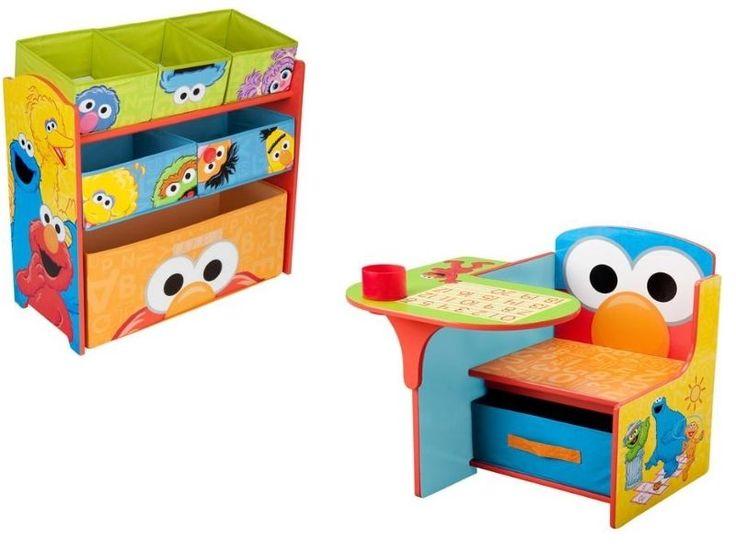 Kids Toddler Elmo Chair Desk And Toy Organizer Box Set With Storage Cup Holder  #SesameStreet