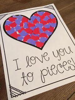 FREE torn paper template for Valentine's Day