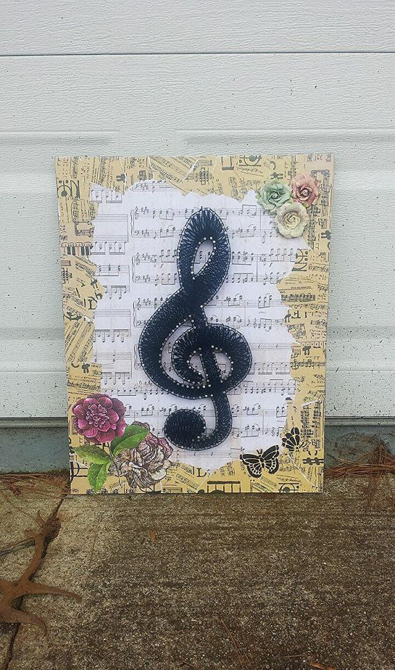 "14""x18"" Treble Clef Music String Art                                                                                                                                                                                 Mais"