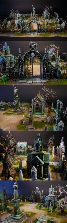 Very detailed miniature cemetery . Great ideas and scaling.