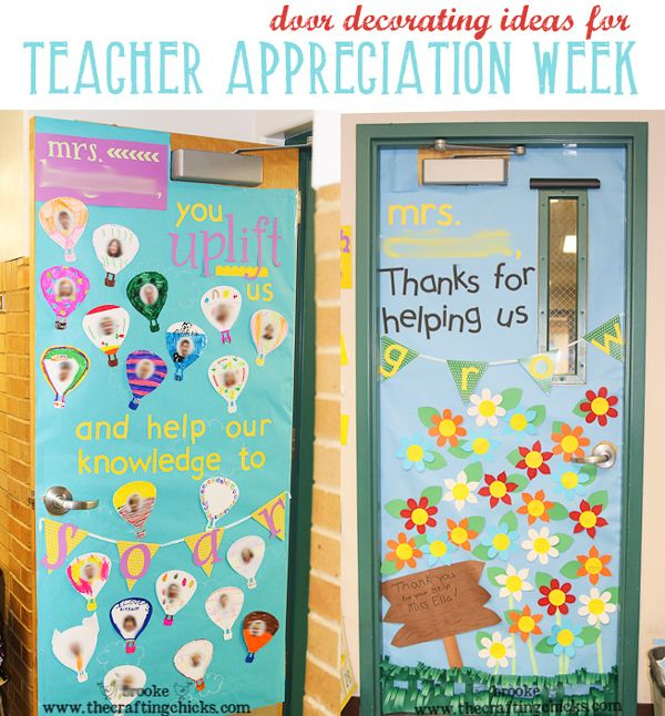 Door decoration ideas for Teacher Appreciation Week on The Crafting Chicks