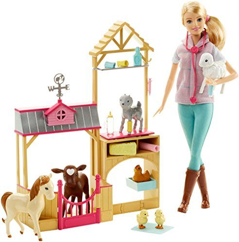 It's farming fun with the Barbie farm vet play set! Barbie doll -- and pet lovers -- will be kept busy caring for the seven animals that live in this barn -- a calf lamb pony baby goat chicken and...